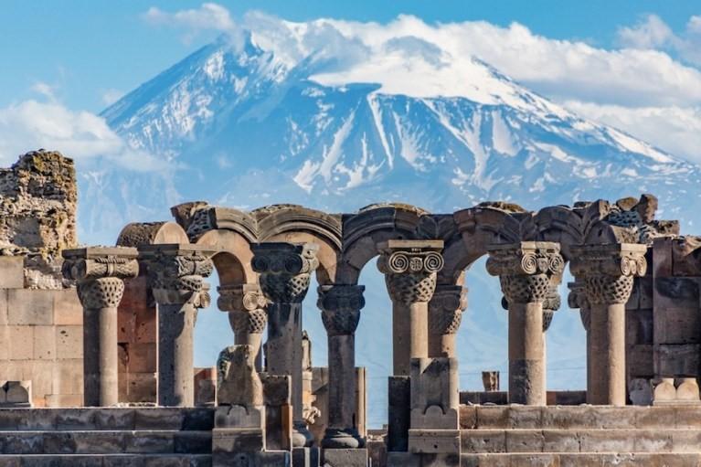 sky blue mount Ararat Zvartnots cathedral Yerevan Ejmiatsin